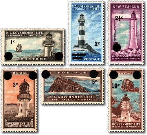 1967 Government Life Insurance Lighthouse Decimal Overprints